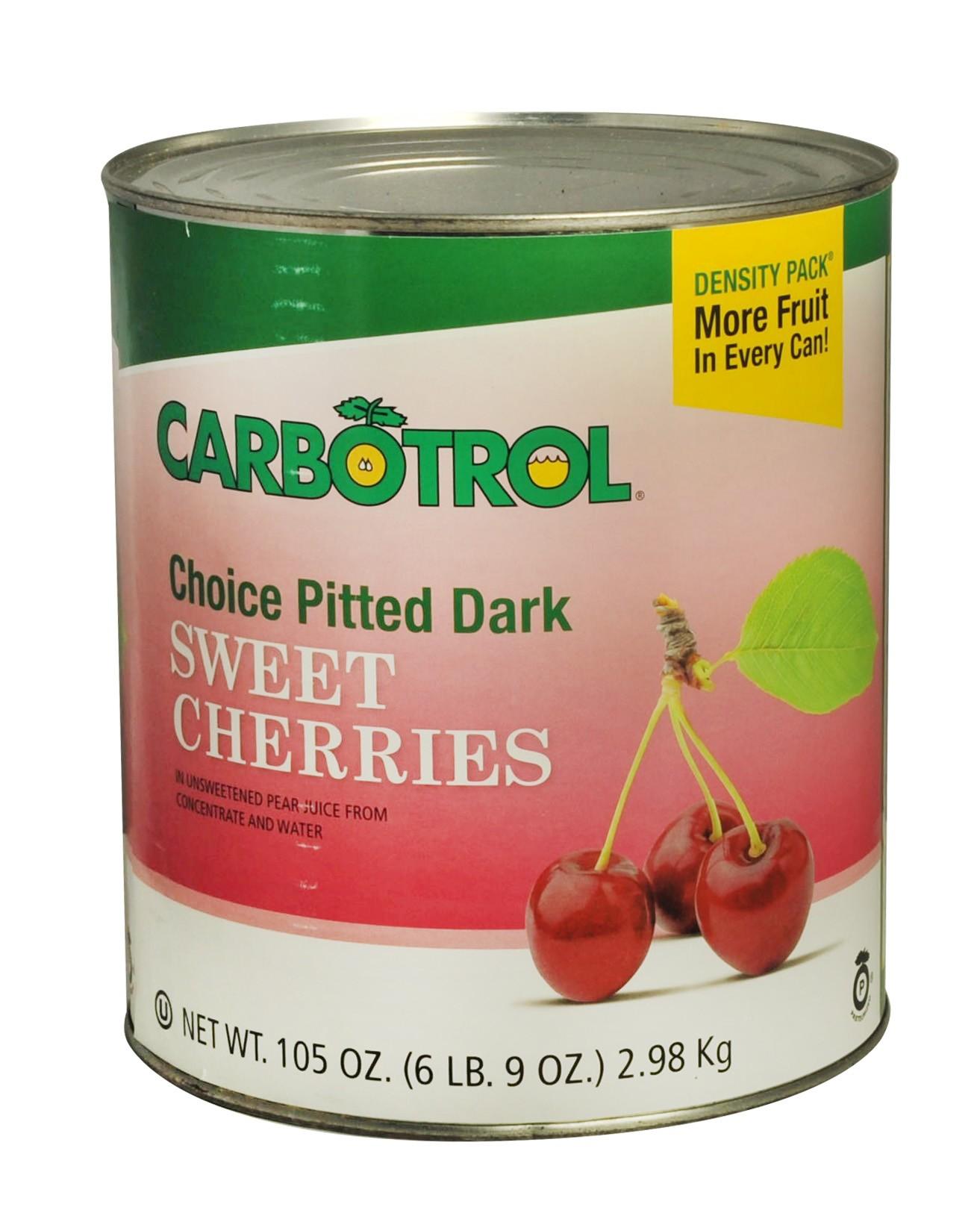 Carbotrol #10 Juice Packed Canned Fruit, Dark Sweet Cherries (1 -105oz Can)