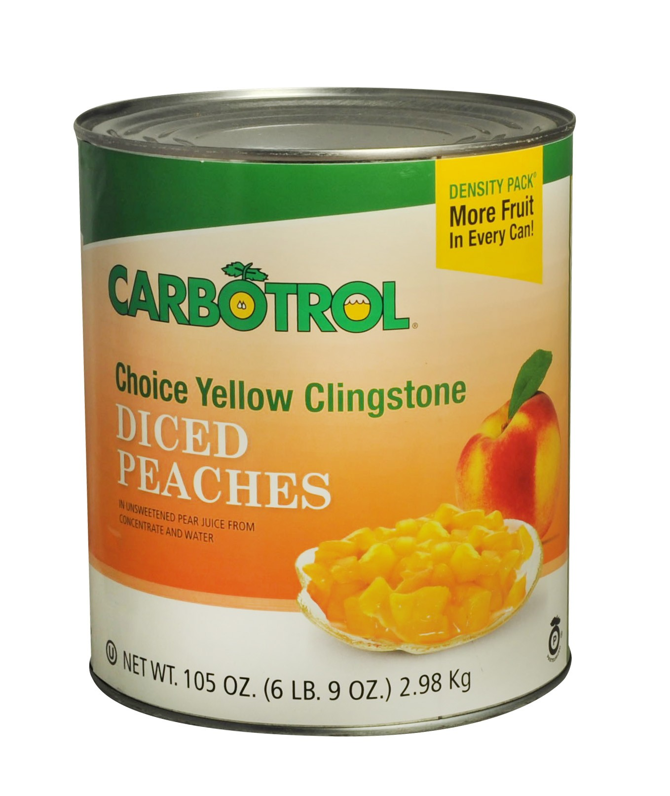 Carbotrol #10 Juice Packed Canned Fruit, Diced Peaches (1 -105oz Can)