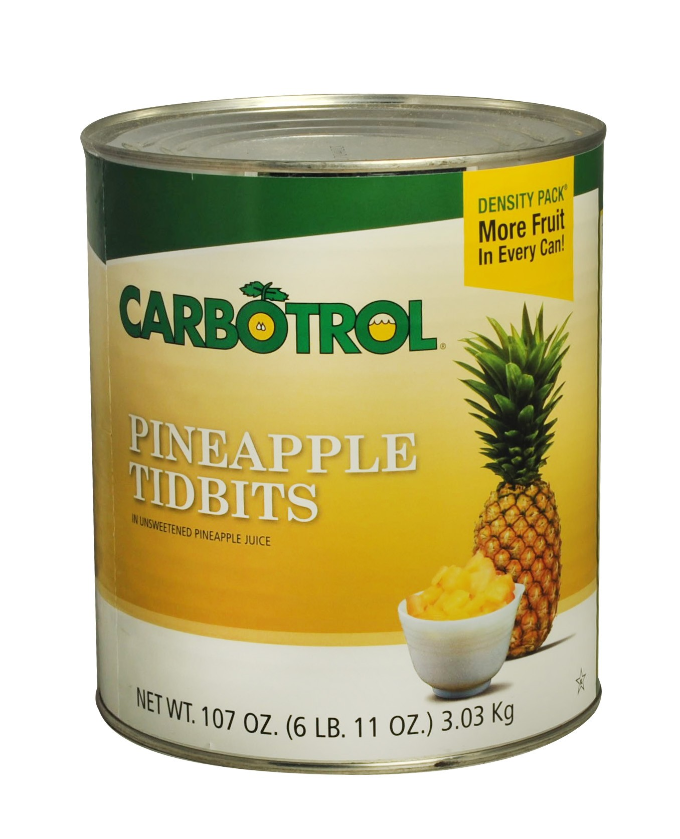 Carbotrol #10 Juice Packed Canned Fruit, Pineapple Tidbits (1 - 107oz Can)