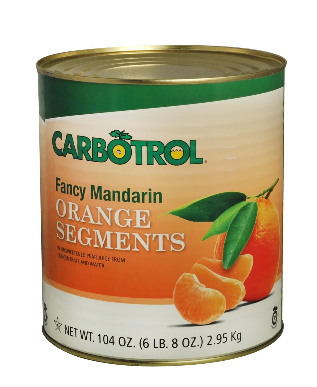 Carbotrol #10 Juice Packed Canned Fruit, Mandarin Oranges (1 - 104oz Can)