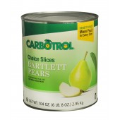 Carbotrol #10 Juice Packed Canned Fruit, Sliced Pears (1 - 104oz Cans)