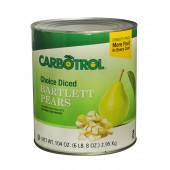 Carbotrol #10 Juice Packed Canned Fruit, Diced Pears (1 - 104oz Can)