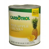 Carbotrol #10 Juice Packed Canned Fruit, Pineapple Chunks (1 - 107oz Can)